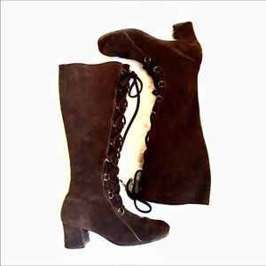 Vintage 1960's Suede Lace Up Knee High GoGo Boots